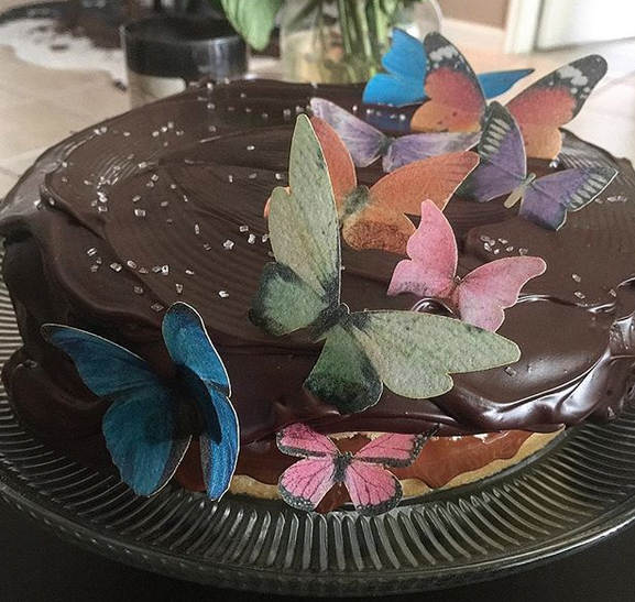 Dulce de Leche and chocoalte with edible butterflies